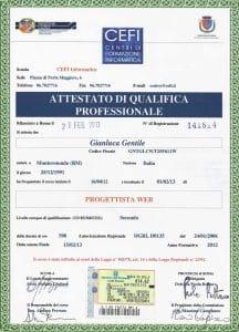 - Attestato Web Designer web Gianluca Gentile 216x300 - Curriculum