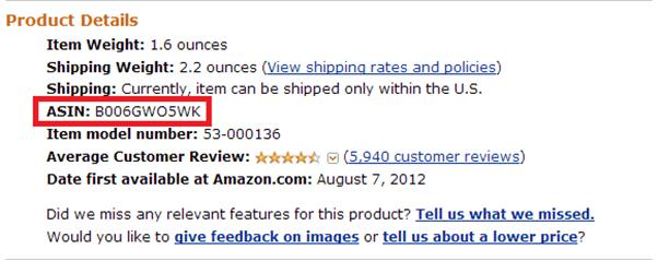 Ecco come si presente Asin di un prodotto nelle pagine di Amazon  - Amazon Asin Gianluca Gentile - Amazon ASIN, scopriamo cosa sono