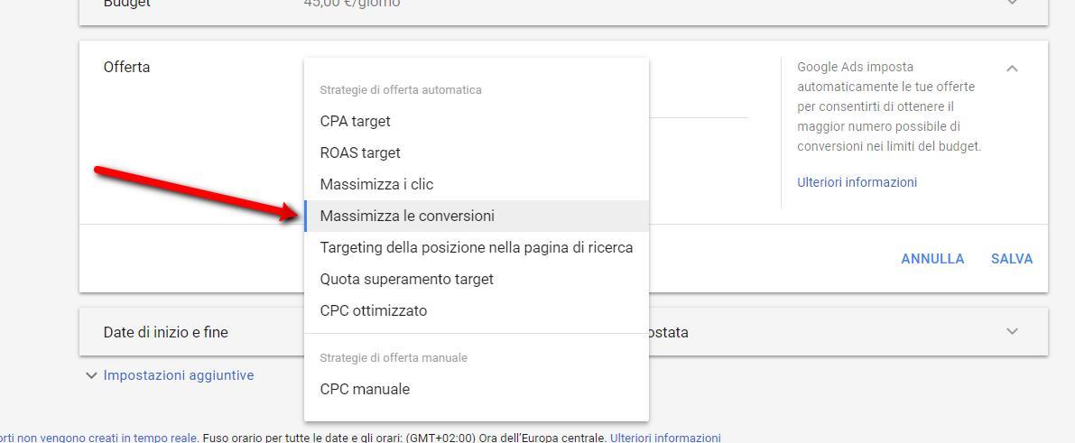 massimizza le conversioni - Massimizza le conversioni in Google Adwords - Massimizza le conversioni della tua campagna Google ADS
