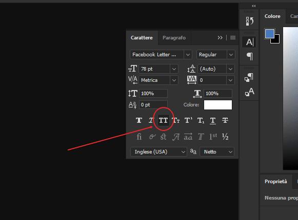 - Strumento Carattere - Photoshop: Strumento di testo bloccato in BLOC MAIUSC